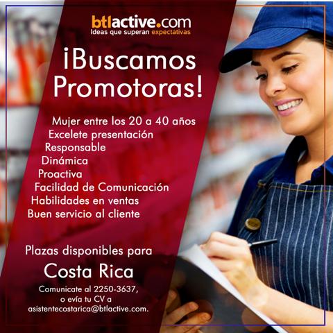 Vacantes Promotoras para toda Costa Rica 1