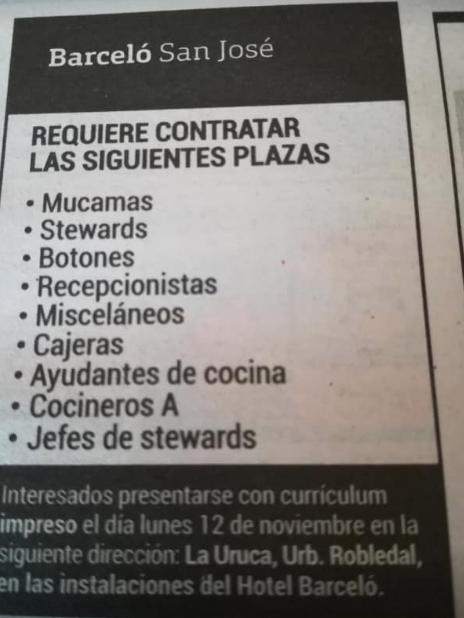 Hotel Barceló puestos vacantes en diferentes áreas - Feria hoy 12 de Noviembre 1