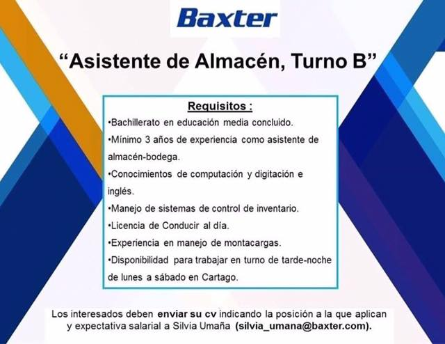 ASISTENTE DE ALMACÉN, TURNO B – BAXTER 1