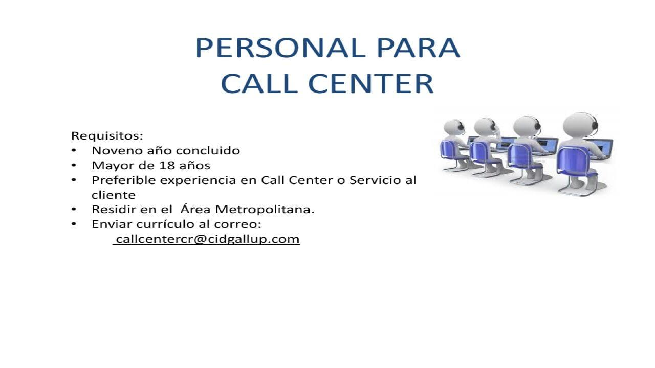 Puestos vacantes para Call Center Español - Área Metropolitana 1