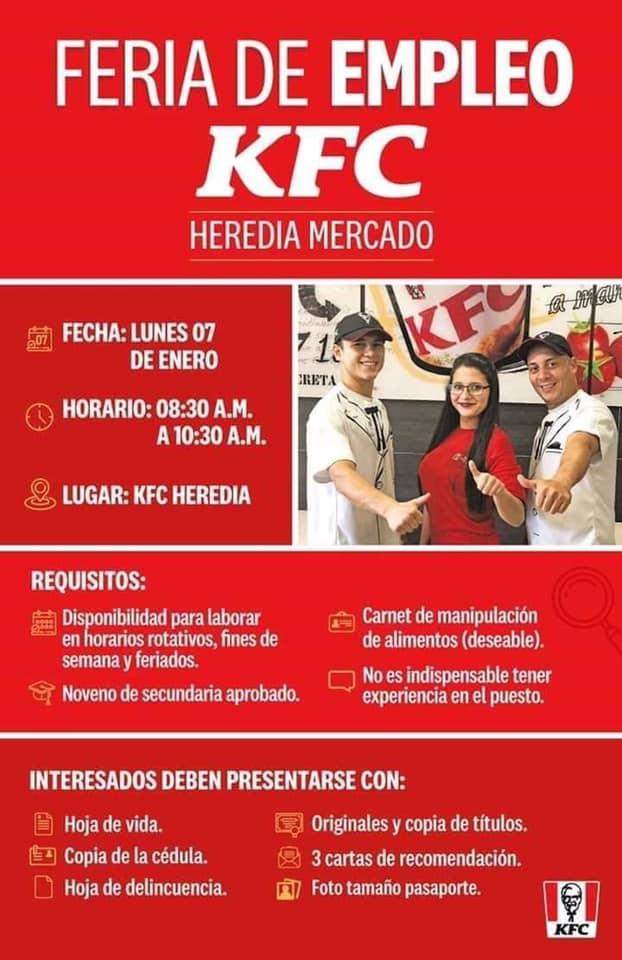 KFC HEREDIA busca personal para nuevo restaurante 1