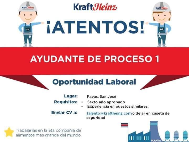 Vacantes Ayudante de Proceso 1 para Kraft Heinz en Pavas 1