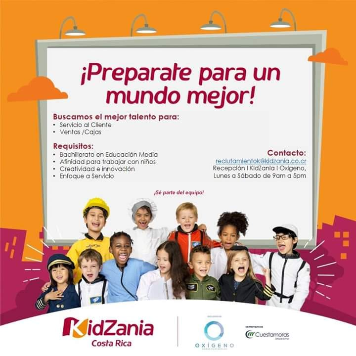 Personal en Kidzania en Mall Oxígeno para Servicio al Cliente y Cajas/Ventas 1