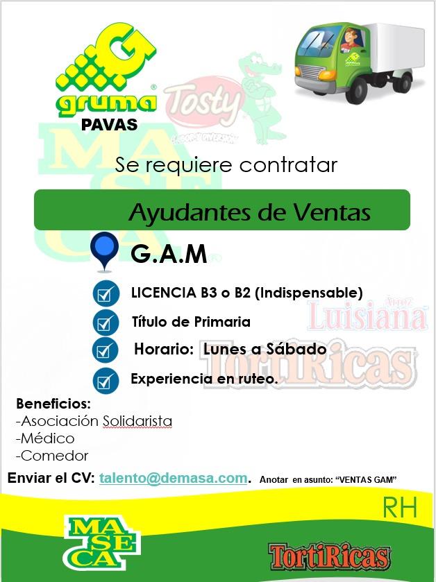 Ayudantes de Ventas para laborar en el GAM - Empresa DEMASA 1