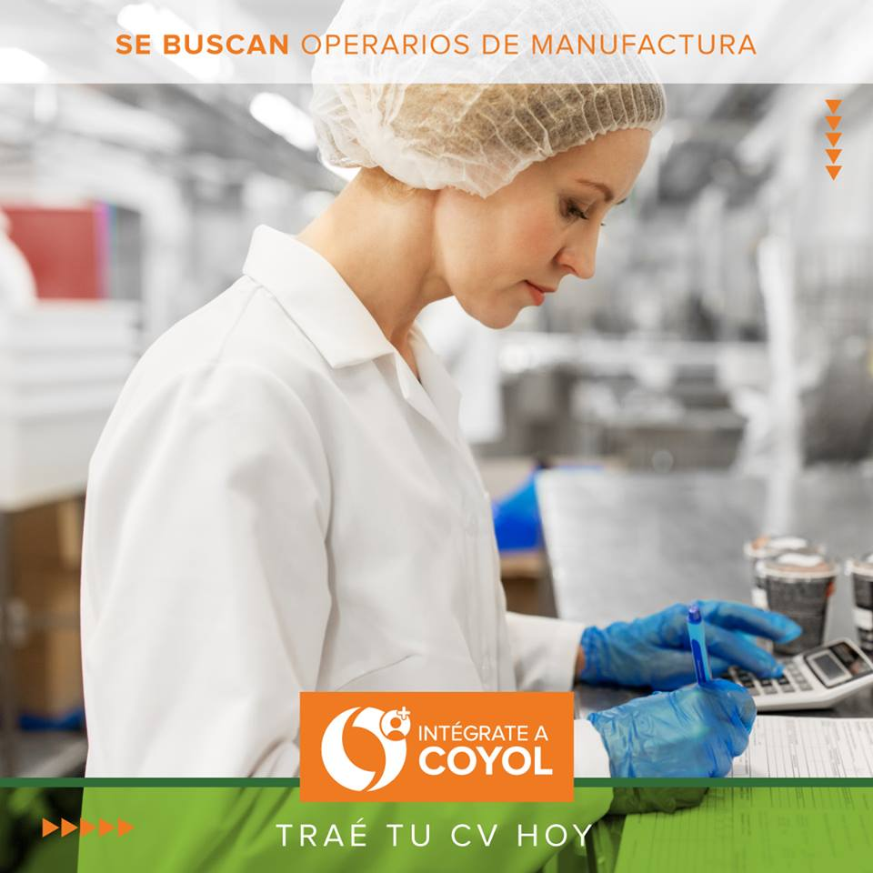 ¿Querés trabajar como Operario de Manufactura para una empresa ubicada en Coyol Free Zone? 1