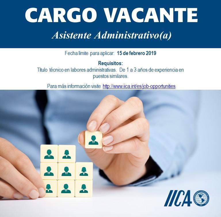 El IICA requiere contratar una Asistente Administrativo(a) aplica antes del 15 de Febrero 1
