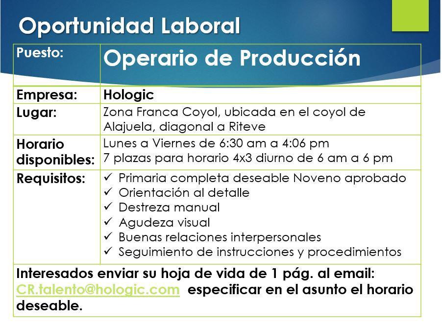 Hologic requiere contratar Operarios de Producción en Coyol 1
