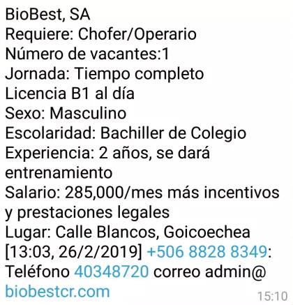 Vacantes Chofer/Operario para laborar en BioBest en Calle Blancos 1