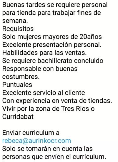 Personal para Tienda en Tres Ríos y Curridabat para laborar fines de semana 1