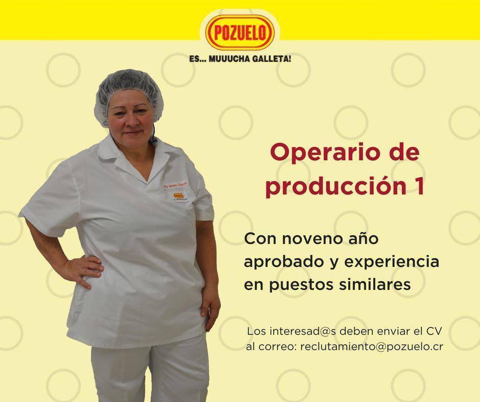 Pozuelo requiere contratar Operarios de Producción 1 - Uruca 1
